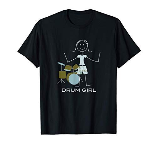 Divertente donna batterista, ragazza tamburo musicista Maglietta