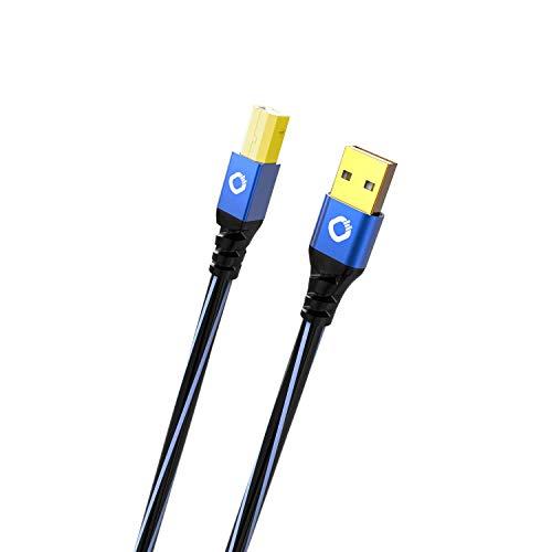 Oehlbach USB Plus B USB Druckerkabel Typ A zu Typ B PVC Mantel OFC blauschwarz 5m
