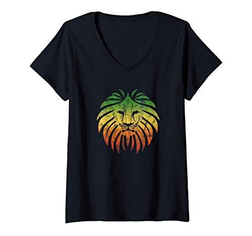 Damen Reggae Löwe Musik Fahne Farben Rasta Roots Vintage Grunge T-Shirt mit V-Ausschnitt