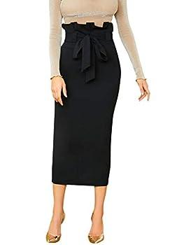 Verdusa Women s Elegant Paperbag Waist Split Back Belted Bodycon Pencil Skirt Black S