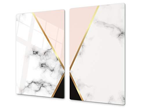 Planche à découper en verre trempé et couvre-cuisinière – Résistant à la chaleur et aux bactéries – UNE PIÈCE (60x52 cm) ou DEUX PIÈCES (30x52 cm chacune); D10A Série Textures: Marbre