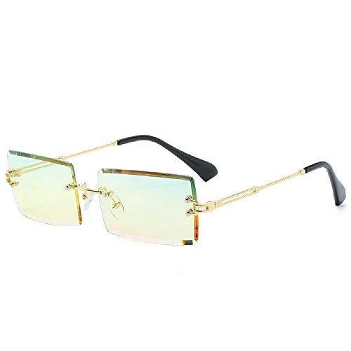N\C Schlichte Sonnenbrille, Neue Rahmenlose Quadratische Sonnenbrille, Kleine Brille Sonnenbrille Goldener Rahmen grün gelbes Pulver