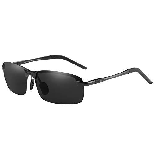 LZXC Herren Polarisierte Sonnenbrille UV400 Schutz Brille zum Autofahren, Schwarzer Rahmen Schwarzer Linse