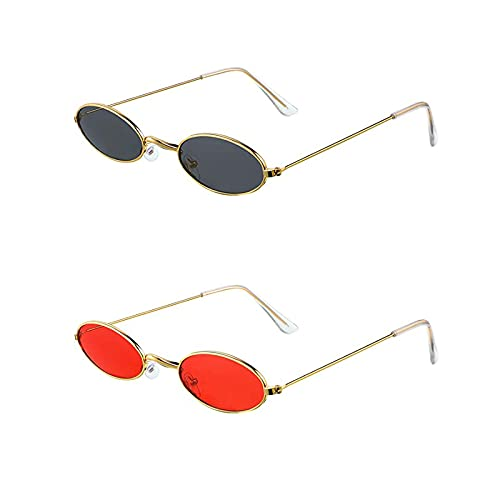 MoKu 2 Pares Gafas de Sol Ovaladas Retro, Gafas de Sol Ovaladas Vintage, Gafas de Sol Pequeñas Vintage, Gafas de Sol Ovaladas Pequeñas, para Mujeres, Niña, Hombres, Fiesta