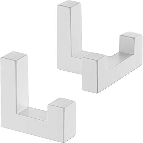 Gedotec Wand-Haken eckig Kleiderhaken Tür Metallhaken Vintage - TETRIS | Einzelhaken + Doppelhaken weiß | Garderoben-Haken Metall unsichtbar verschraubt | 1 Set - Aufhänger für Wand-Montage