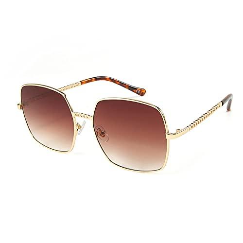 Secuos Moda Gafas De Sol Cuadradas Vintage para Hombre, con Montura Metálica, Gafas De Sol para Mujer, Gafas Transparentes Al Aire Libre, Montura, Lentes Marrones