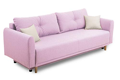 Collection AB Scandinavia Bettfunktion und Bettkasten Schlafsofa, Stoff, Rosa, 86 x 219 x 93 cm