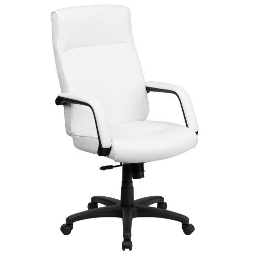 Flash Furniture High Back White LeatherSoft Executive Swivel Ergonomic Office Chair with Memory Foam Padding and Arms