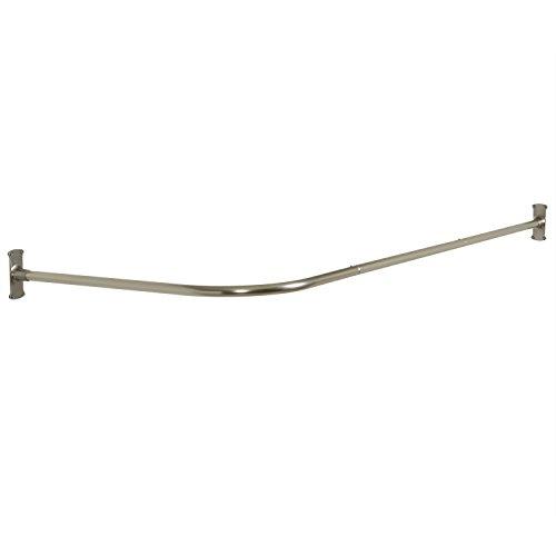 Zenna Home NeverRust Aluminum Rustproof L-Shaped Corner Shower Curtain Rod, Satin Nickel