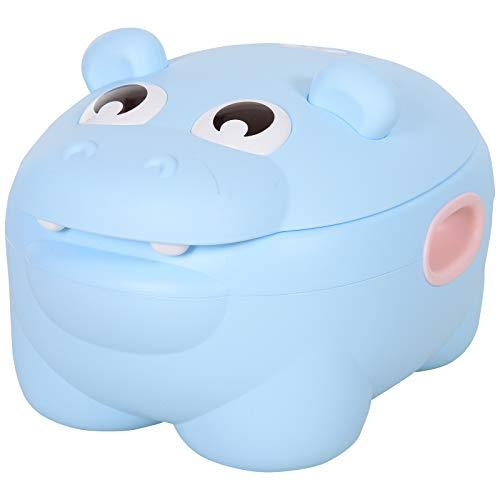 HOMCOM Orinal para Bebés en Forma de Hipopótamo 2 en 1 con Tapa Cubo Extraíble y Cepillo Inodoro para Aprender Entrenamiento Carga 25 kg 40x30x23 cm Azul