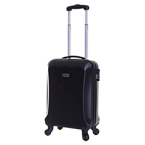 Slimbridge Hard Shell Cabin Carry-on Hand Luggage Suitcase Bag 55 cm 2.8 kg 35 litres with 4 Wheels and Number Lock, Lydde (55 cm, Black)