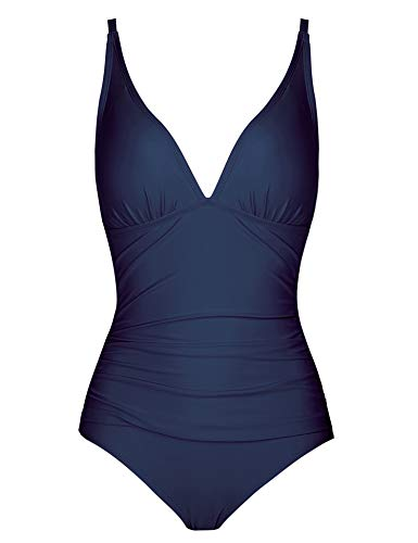 Joyaria Womens Shirred Full Butt/Bottom Coverage One Piece Swimsuit Bathing Suit(Navy Blue,Size 10)