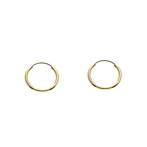 14k Yellow Gold Tiny and Small Endless Hoop Earrings 10mm