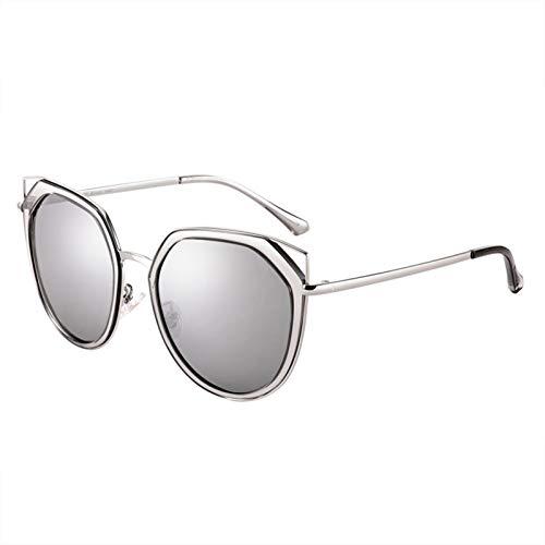 LDH Gafas De Sol Polarizadas, Damas Retro Metal Cat-Eye Big Frame Driving Mirright, Geomen Fashion Hollow Cat Eye UV400 Protección Gafas De Sol Polarizadas (Color : C)