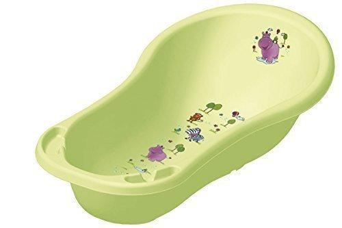 OKT Kids - Vasca per bagnetto, con tappo, misura XXL (100 cm), motivo ippopotamo, colore: Verde acido