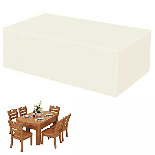 Cubierta para Muebles de jardín, Oxford 420D Cubierta de Mesa de jardín Grandes, Impermeable, Protección UV, para Protección de Muebles, Rectángulo Cubierta de Ratán, Beige - 180x100x70cm