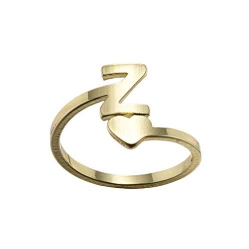 BNFG Open Rings For Womenm,Ladies Adjustable Open Rings Elegent Heart Initial Letter Z Design Golden Ring Fashion Engagement Eternity Xmas Jewellery Gift For Women Girls