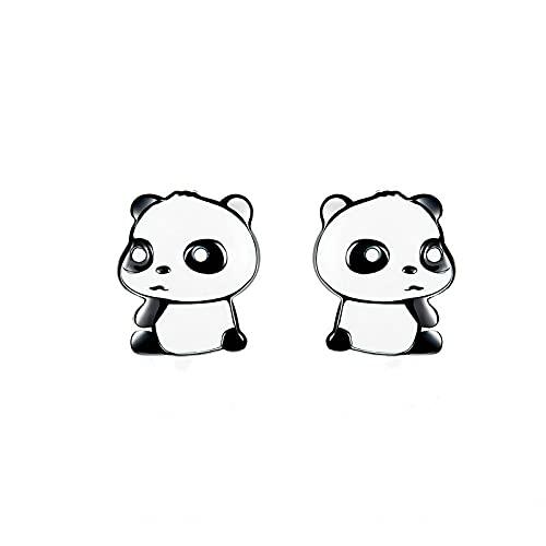 Pendientes De Botón De Plata Esmaltados Para Bebé Panda Para Niña, Pendientes De Animales En Blanco Y Negro, Pendientes De Regalo De Plata De Ley 925 Para Mujer