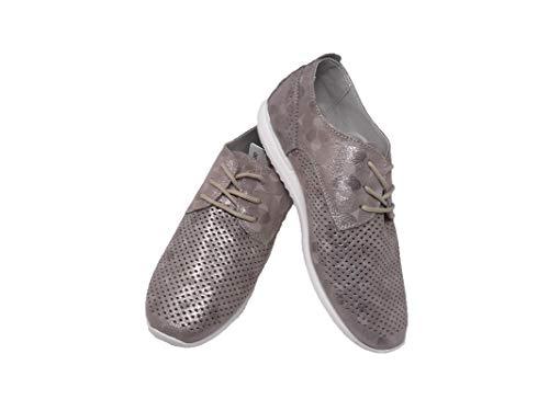 Zapatos de Mujer/Amarpies/Empeine: Piel Calada/Suela: Eva/Muy Suave y Ligera/Cierre Cordones/Color Platino/Talla 38