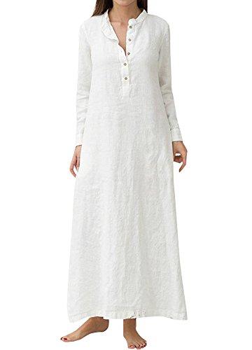 Romacci Damen Casual Long Dress Long Sleeves Seitentaschen Schlitz Vintage Maxi Robe Kleid