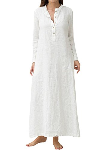 Romacci Damen Casual Long Dress Long Sleeves Seitentaschen Schlitz Vintage Maxi Robe Kleid