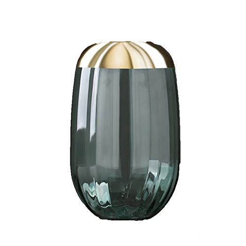 BUYYUB Muebles para El Hogar De La Personalidad Creativa Nórdica, Gilded Oval Vino Botella De Vidrio Jarrón Modelo De Sala De Estar Encimera (Cor : Green L)