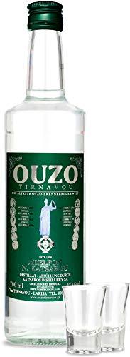 Premium Ouzo mit gläsern | OUZO GESCHENK SET | Anis likör aus Griechenland | Anis schnaps | mild | Geschenk Set | USO | UZO | 1x 700ml