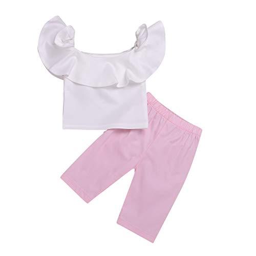 Julhold zomer kleine kinderen baby meisjes mooie outfits kleding ruches schoudervrij overhemd tops + broek set 0-4 jaar