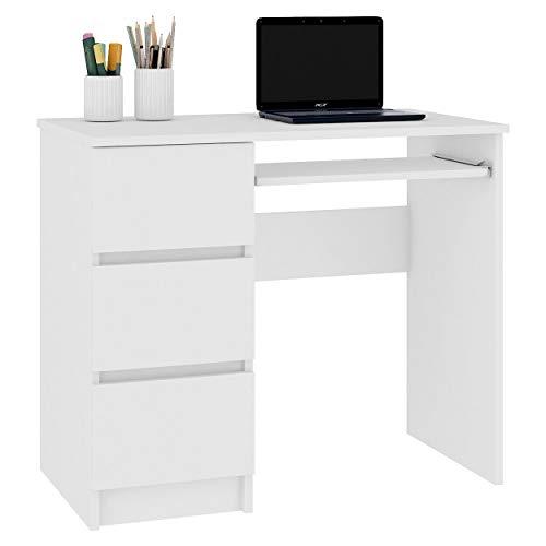 Schreibtisch Bürotisch Computertisch Arbeitstisch Laptoptisch Bürmöbel | 3 Schubladen Links Schülerschreibtisch Computertisch Kinderschreibtisch Arbeitstisch PC-Tisch Weiss 90x77x50 (Links)
