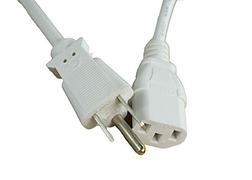 """[UL Listed] OMNIHIL White 15 Feet Long AC Power Cord Compatible with LG Electronics 42.5"""" Screen LED-lit Monitor (43UD79-B)"""