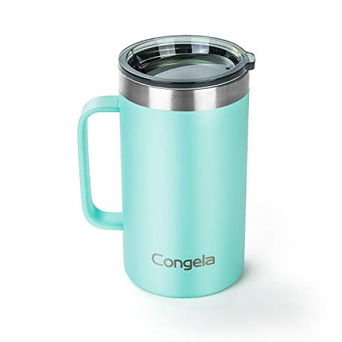 Congela 22oz Seafoam stainless steel insulated thermos coffee mug with handle, tea tumbler cup with Tritan lid and gift box for women men travel camping(Seafoam,22oz)