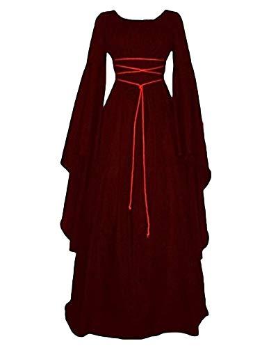 PengGengA Vestito Vestito Cosplay Medievale da Donna Abito Lungo retrò Costume di Halloween Bodeaux S