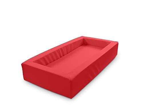 Krippenbett Picco, Weichschaumbett abwischbar 120x60x20cm, Bezug: Kunstleder Rot