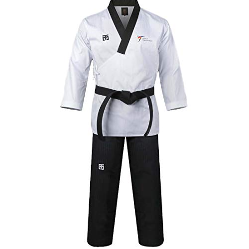 Mooto Corea Taekwondo Poomsae Uniforme WT Logo Taebek Dan MMA Artes Marciales Karate Judo Kick Boxeo (180(Altura: 180~189cm)(5.90~6.20ft), 1. Male)