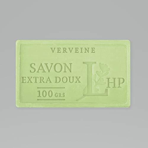 PRODUIT DE PROVENCE - VERVEINE - SAVON DE MARSEILLE EXTRA DOUX 100 G - DÉLICAT PARFUM NATUREL DE VERVEINE - GARANTI SANS PARABEN