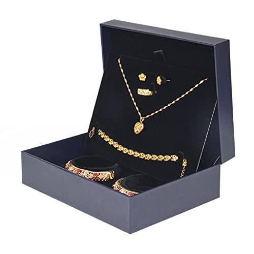 ROEWP Caja de Almacenamiento de Ornamento de Conjunto de Boda, Pulsera de Oro Collar Pendientes Anillo Pantalla Organizador Bandeja Titular de la Bandeja, Regalos de Boda (Color : Black)
