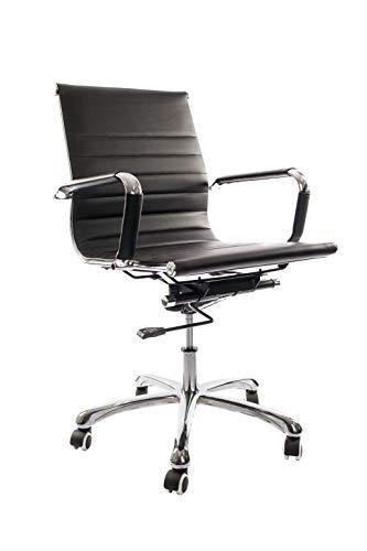 Vivol Design Schreibtisch Stuhl Valencia Schwarz - Bürostuhl Ergonomisch Kunstleder - Stuhl schwarz Bürostuhl 150 kg - Drehstuhl mit Rollen und Armlehnen