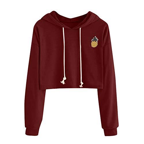 MOTOCO Tops for Women Teen Girls Casual Hooded Long Sleeved Sweater Fashion Pineapple Printed Short Sweatshirt Hoodies Pullover(M,Wine)