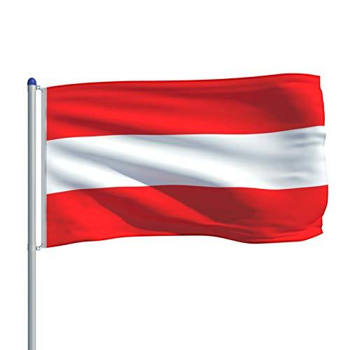 Irfora Flagge Österreichs und Mast Aluminium Europäische Flagge Teleskop Fahnenmast Flaggenmast 6 m