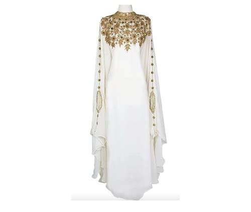 ADIBA CREATION Sale New Moroccan Dubai Kaftans Farasha Abaya Dress Very Fancy Long Gown Dress (Medium)