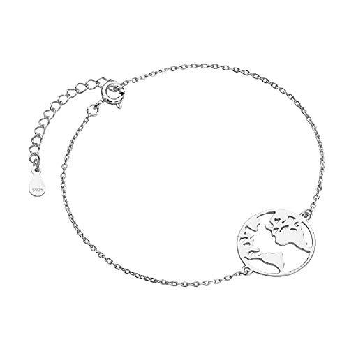**Beforya Paris** - wereldkaart - armband - zilver 925 mooie dames armband - prachtige armband met geschenkdoos PIN/75