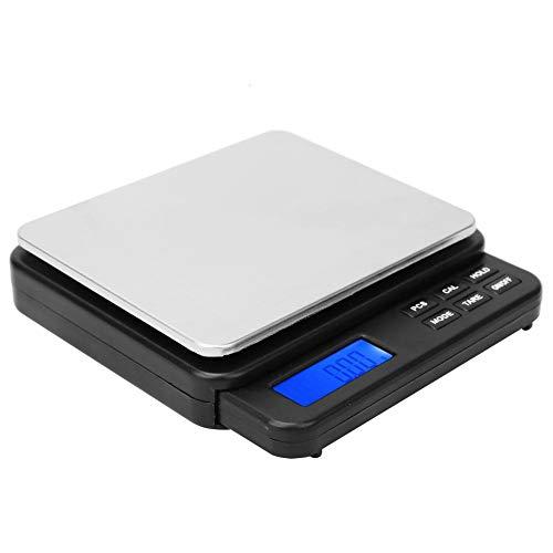 Mini báscula de cocina de alta precisión inteligente Báscula de pesaje eléctrica de alta sensibilidad con pantalla retroiluminada azul 1000g / 0.01g para el hogar para interiores(black)