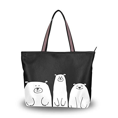 HMZXZ Bolsos y monedero de oso blanco divertidos para las mujeres bolso de mano de gran capacidad asa superior bolsa de hombro Shopper, color Multicolor, talla Medium