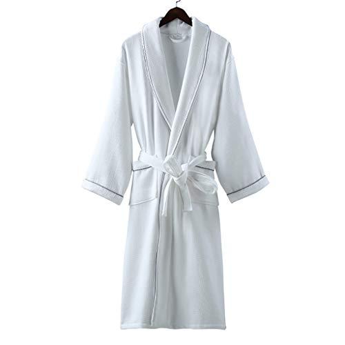 Bata Baño Albornoz Mujer Bata Suave Albornoz Ropa de Manga Larga Muy Absorbente para el Salón Baño Loungewear (Color : White, tamaño : Small)