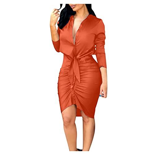 Mneostt Womens Elegant Dress Bow Slim Midi Dress Fashion V-Neck Solid Color Long Sleeves Lace-up Casual Dress Orange