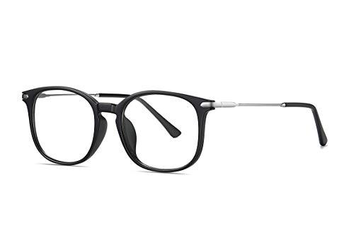 SKILEC Gafas Anti Luz Azul Gafas Ordenador Gafas Lectura Hombre Mujer con Marco de Metal Filtro Protección Azul UV Gafas Presbicia Hombre para PC, Gaming, Videojuegos Lentes Transparentes (Negro Gris)