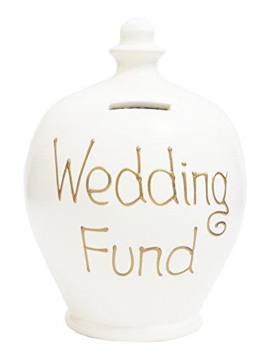 Terramundi - Salvadanaio in ceramica 'Wedding fund', scritta in oro