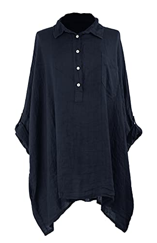 TEXTURE Camisa de lino para mujer italiana Lagenlook de manga larga, cuello con botones, bolsillo de lino, talla única, azul marino, Taille unique