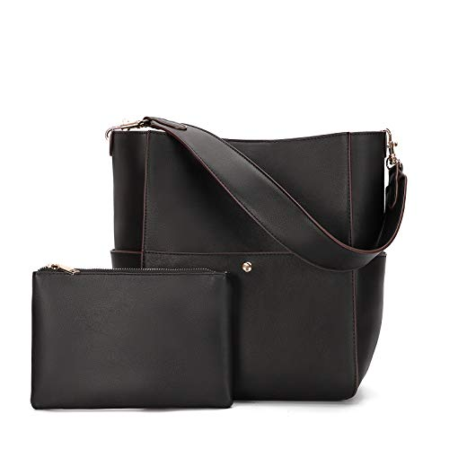 Women Handbags Purses PU Leather Bucket Bags Designer Shoulder Satchel Tote Bags (Black)
