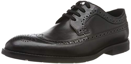 Clarks Ronnie Limit, Scarpe Stringate Brouge Uomo, Nero (Black Leather Black Leather), 41.5 EU